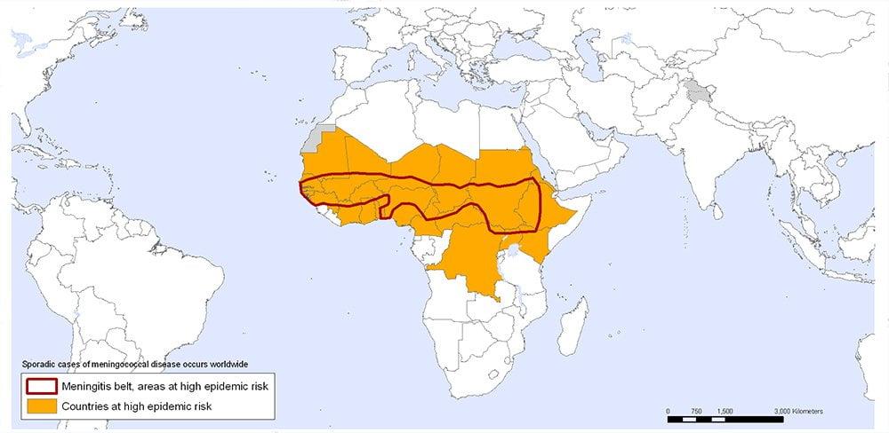 MENINGITIS COUNTRIES AT RISK world map
