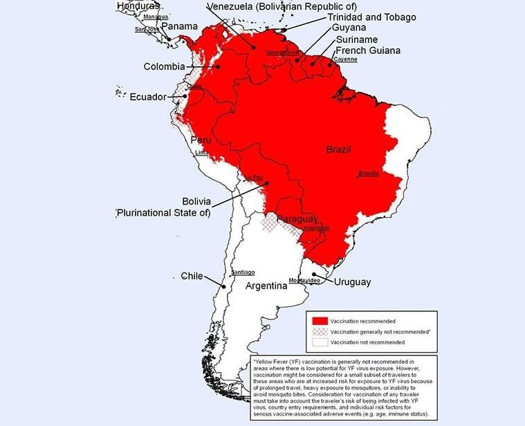 YELLOW FEVER COUNTRIES AT RISK south america